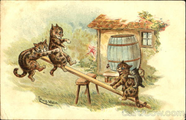 Cats on See-Saw Louis Wain
