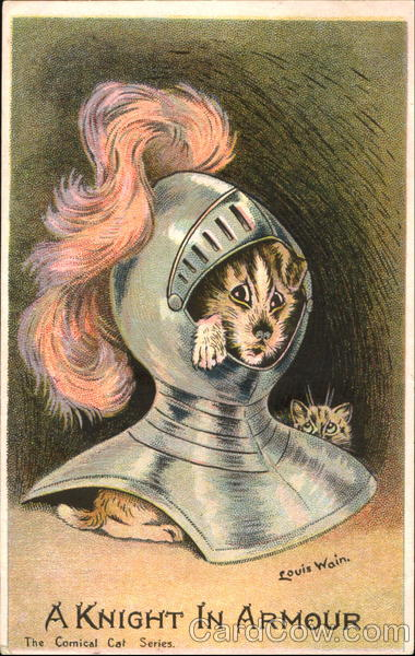 A Knight In Armour Louis Wain