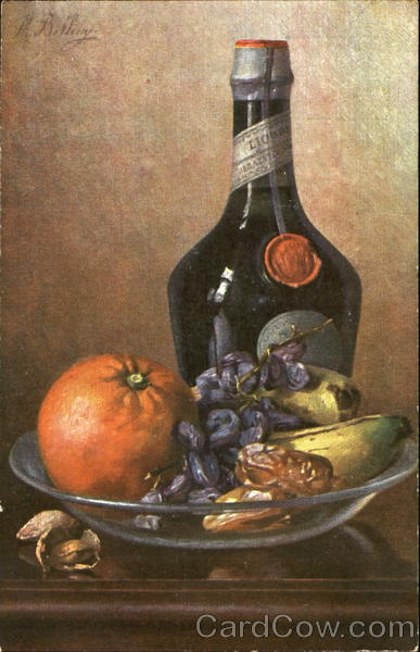Still Life - Fruit & Wine M. Billing Artist Signed