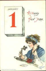 January 1 A Happy New Year Postcard