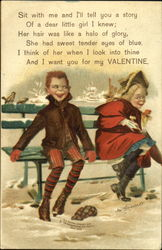 Children on Bench Postcard