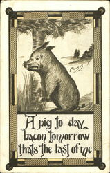 A Pig To Day Bacon Tomorrow Thats The Last Of Me Postcard