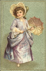 Girl with Parasol Postcard