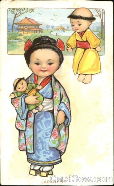 Japanese Girl with Dolls - Swifts Premium Butterine