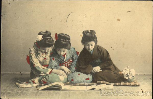 Three Japanese Girls - Hand Colored Asian