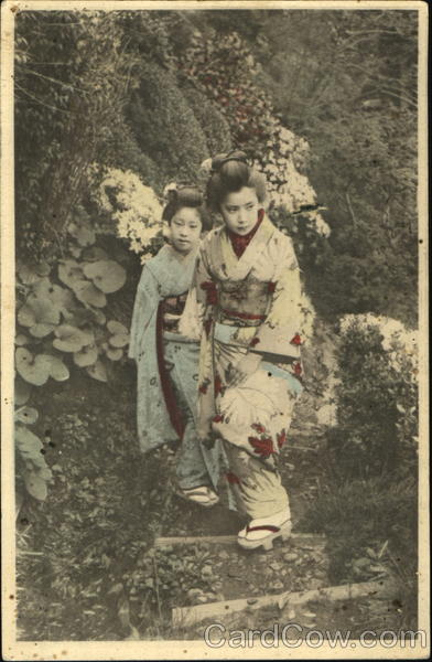 Japanese Girls Hand Colored Asian