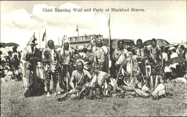 Chief Running Wolf And Party Of Blackfoot Braves Native Americana