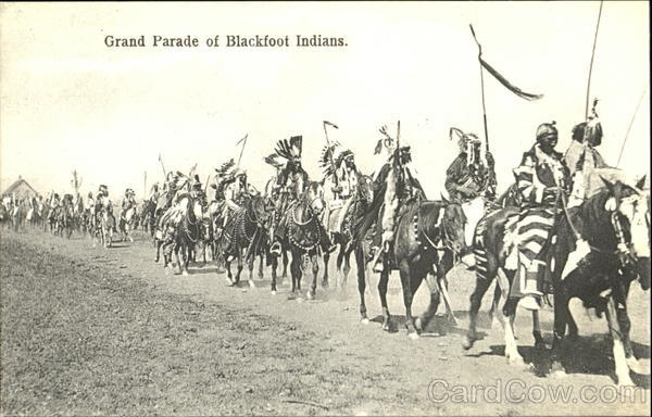 Grand Parade Of Blackfoot Indians Native Americana