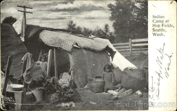 Indian Camp At Hop Fields, I Seattle Washington Native Americana