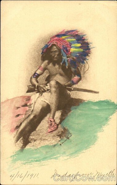 Hand Colored Indian Chief Native Americana