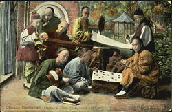 Chinese Gentlemen Playing At Flute