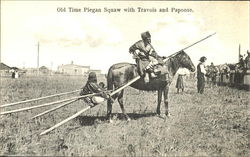Old Time Piegan Squaw With Travois And Papoose