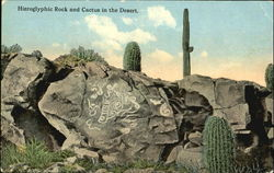 Hieroglyphic Rock And Cactus In The Desert
