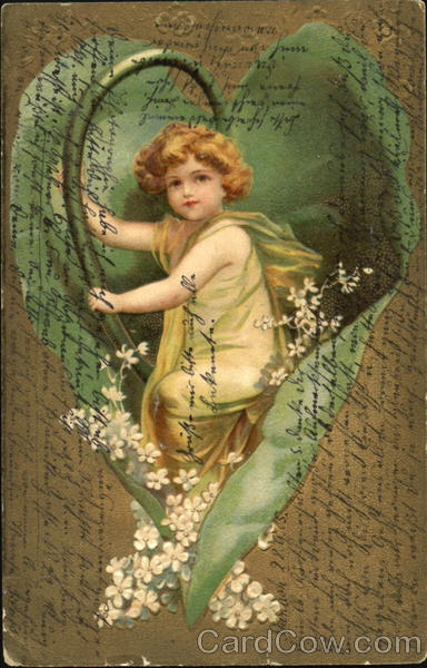 A cherubic child wrapped in a large leaf with flowers