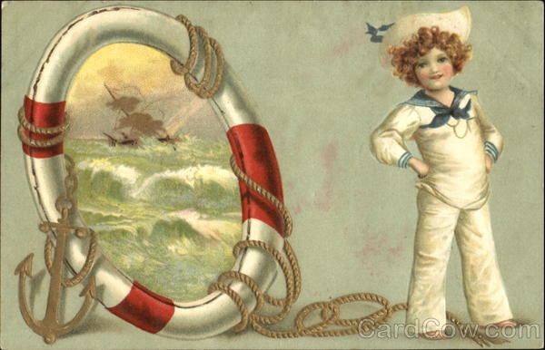 A Boy in a Sailor Suit Standing Beside a Porthole Boys
