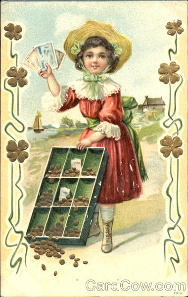 A girl holding money stands on a shore selling nuts