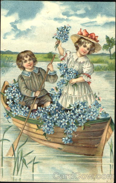 Boy and Girl in a Flower Filled Boat Children