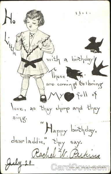 A 19th century child with birds and a birthday wish