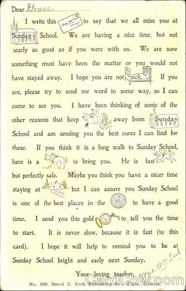 Letter From Sunday School Teacher Religious