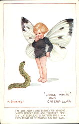 Large White And Caterpillar Postcard