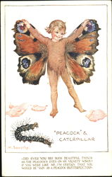 Peacock & Caterpillar Postcard