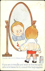 Little Boy Looking at Himself in a Mirror