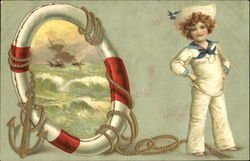 A Boy in a Sailor Suit Standing Beside a Porthole