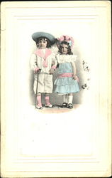 Two children in Edwardian dress