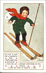 Little boy skiing in the snow