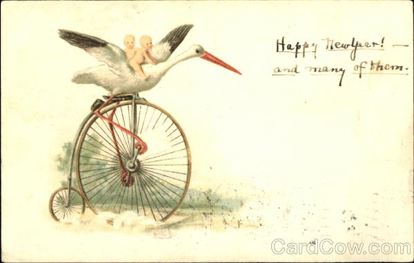 Stork and Babies on Old Bicycle