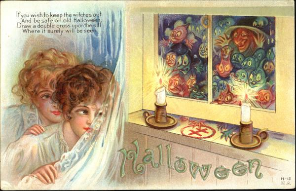 Series H-12 Gobblins and Witch at Window E. Nash Halloween