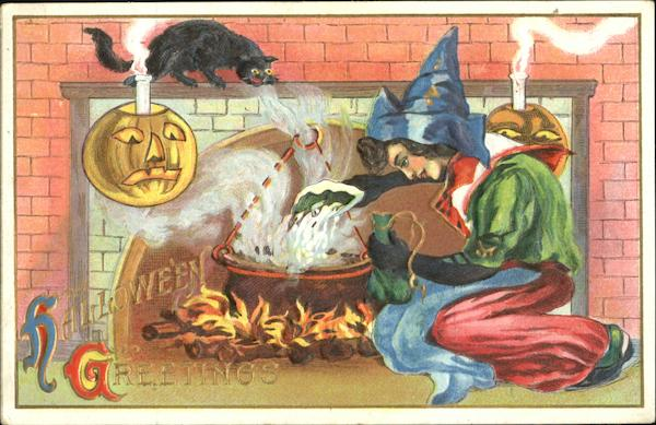 Halloween Greetings Witch at Fireplace JOL