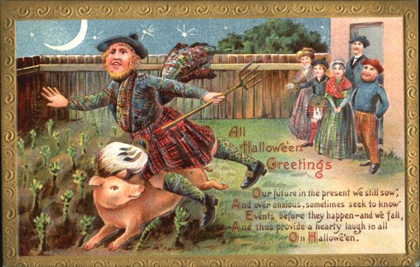 All Halloween Greetings Scottish Farmer Pig