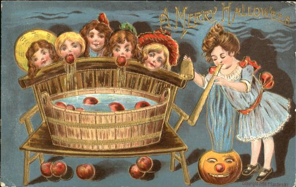 Children Bobbing Apples JOL Halloween