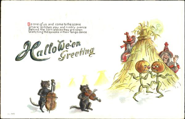 Halloween Greetings Dancing Witches Cats JOL H-33 E. Nash
