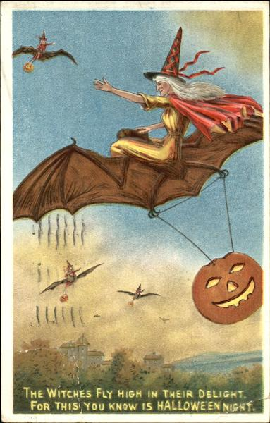 Witches Flying on Bats JOL Halloween