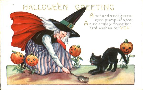 Witch Mouse Cat Halloween Greeting