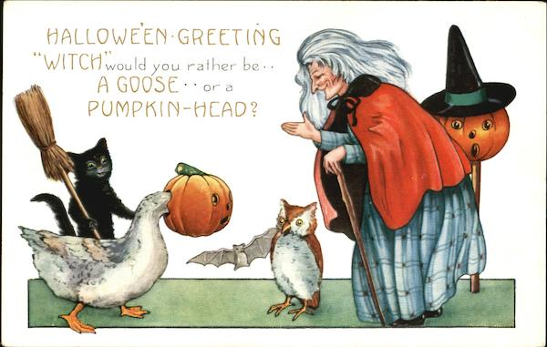 Witch Animals Halloween Greeting