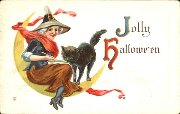 Series 332-D Witch Moon Cat Jolly Halloween
