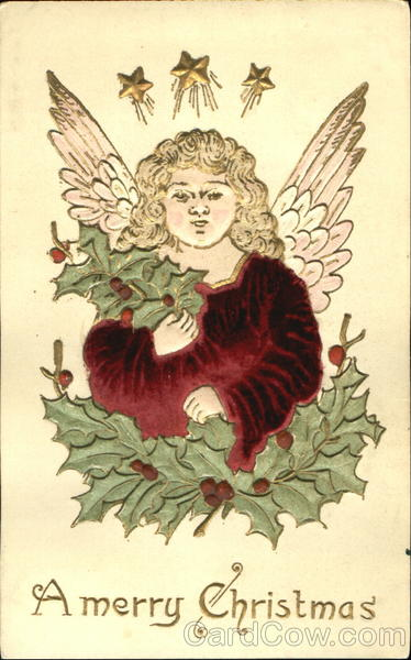 A Merry Christmas Angels Silk & Fabric Applique