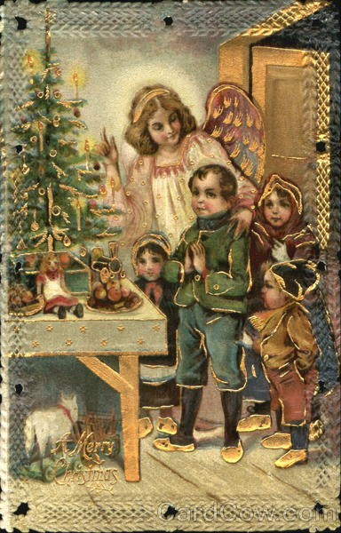 Rare Angel with Children Die Cut Christmas