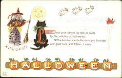 Halloween Witch Black Cat Owls H-17