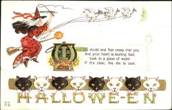 Halloween Witch Cats H-17