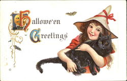 Series 332-F Little Girl Witch w/Cat Halloween Greetings