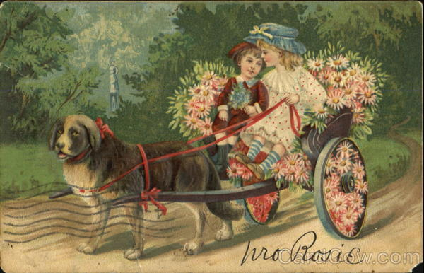 Dog pulling children in carriage Dogs