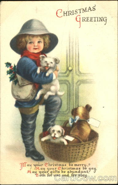 Christmas Greeting Ellen Clapsaddle Dogs Children