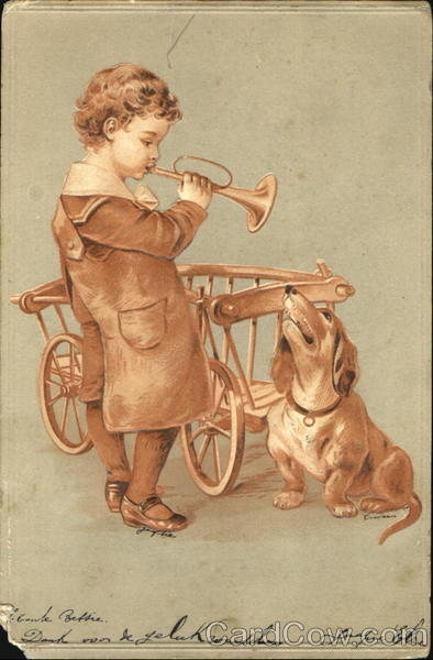 Boy playing horn with dog Dogs