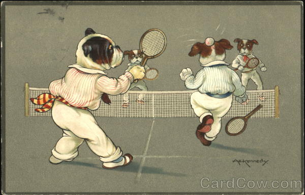 Dogs playing tennis a e kennedy
