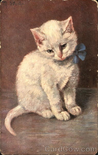 White Kitten with Blue Bow Cats