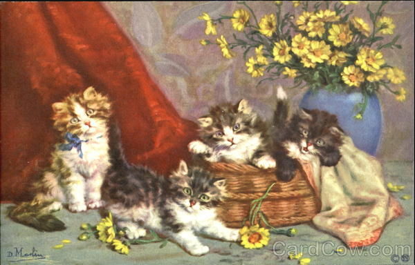 Mischievous Kittens with Flowers Cats